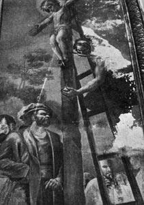 Mural realizado por Bayeu en la Catedral de Toledo, representando la leyenda, muy deteriorado.