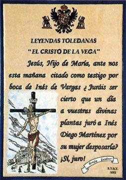Leyenda El Cristo de la Vega, placa cerámica en Toledo