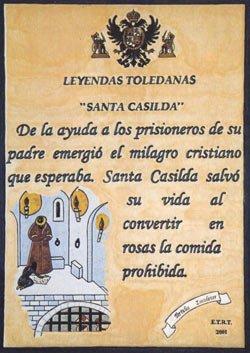 Placa cerámica de la leyenda de Santa Casilda en Toledo