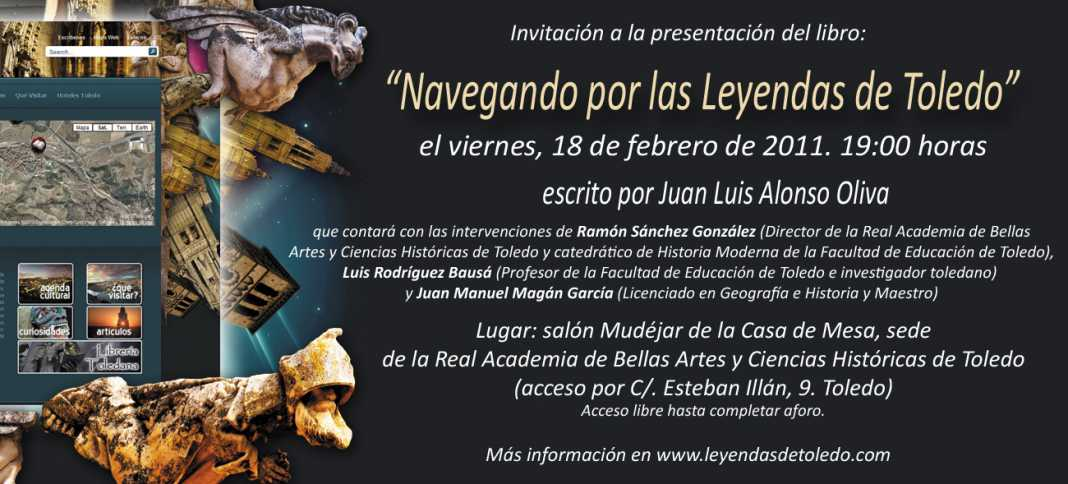 """Invitación a la presentación de """"Navegando por las Leyendas de Toledo"""""""