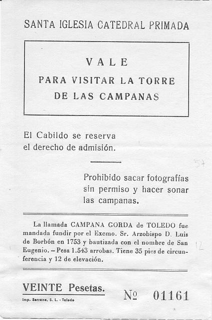 Vale, entrada para Campana Gorda Catedral de Toledo