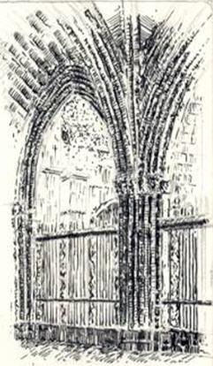Claustro de la Catedral de Toledo a plumilla
