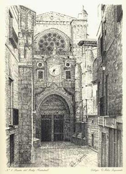 Puerta del Reloj de la Catedral de Toledo, a plumilla