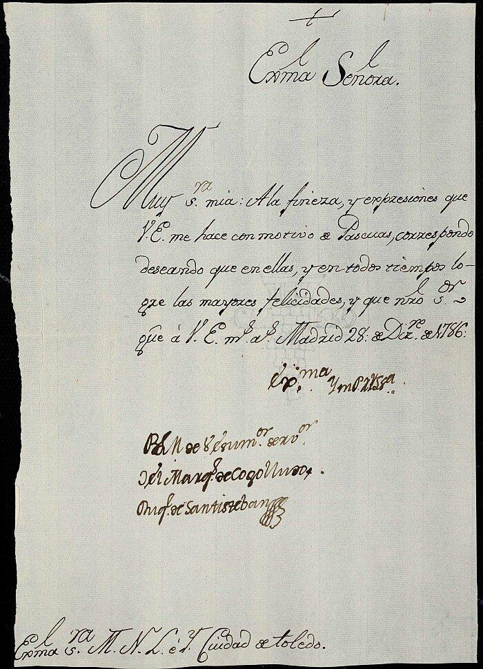 1786, diciembre, 28. Madrid. Felicitación de Pascuas enviada por el marqués de Cogolludo al ayuntamiento de Toledo. Papel, 1 hoja.