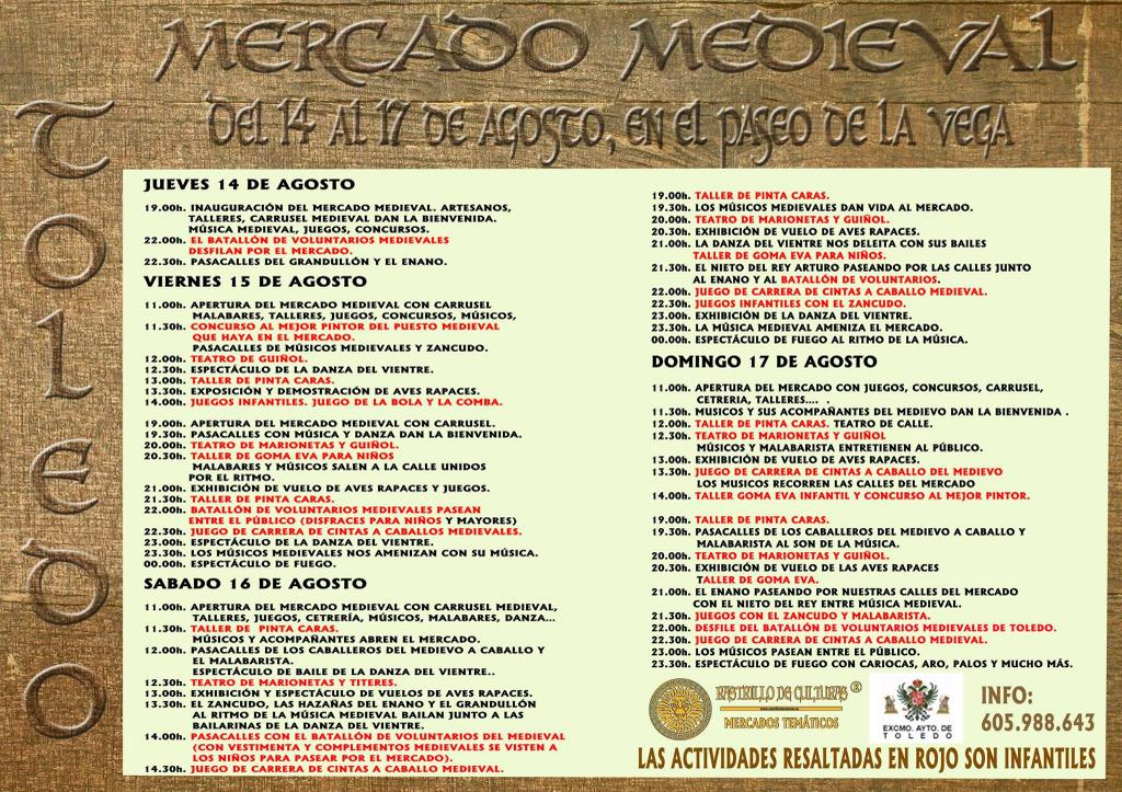 Programa mercado medieval Toledo 2014 agosto