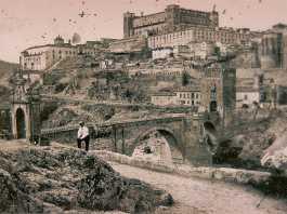 Puente de Alcántara y Restos del Artificio de Juanelo hacia 1864. Fotografía de Alfonso Begue