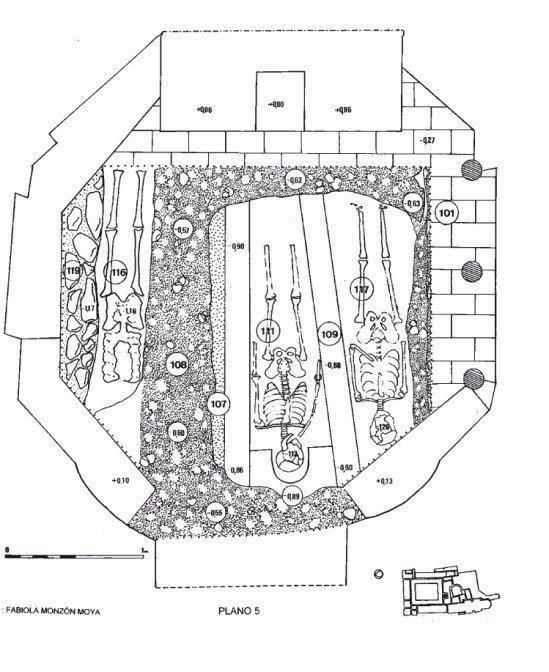 Plano de la excavación del interior de la capilla de Belén