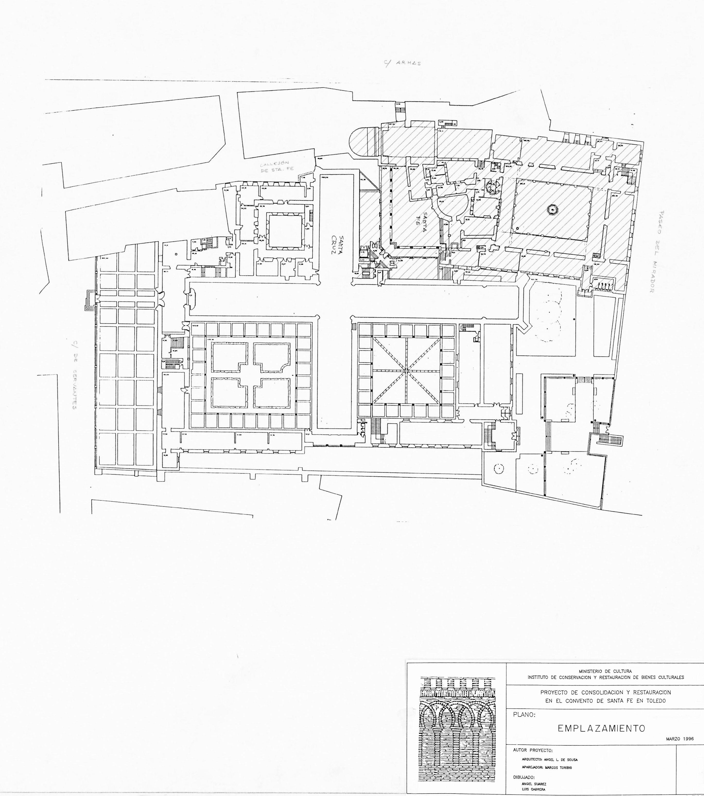 Planos del Convento de Santa Fe de Toledo. ©Ministerio de Cultura. Instituto de Conservación y Restauración de Bienes Culturales. Proyecto de consolidación y restauración. Marzo de 1996