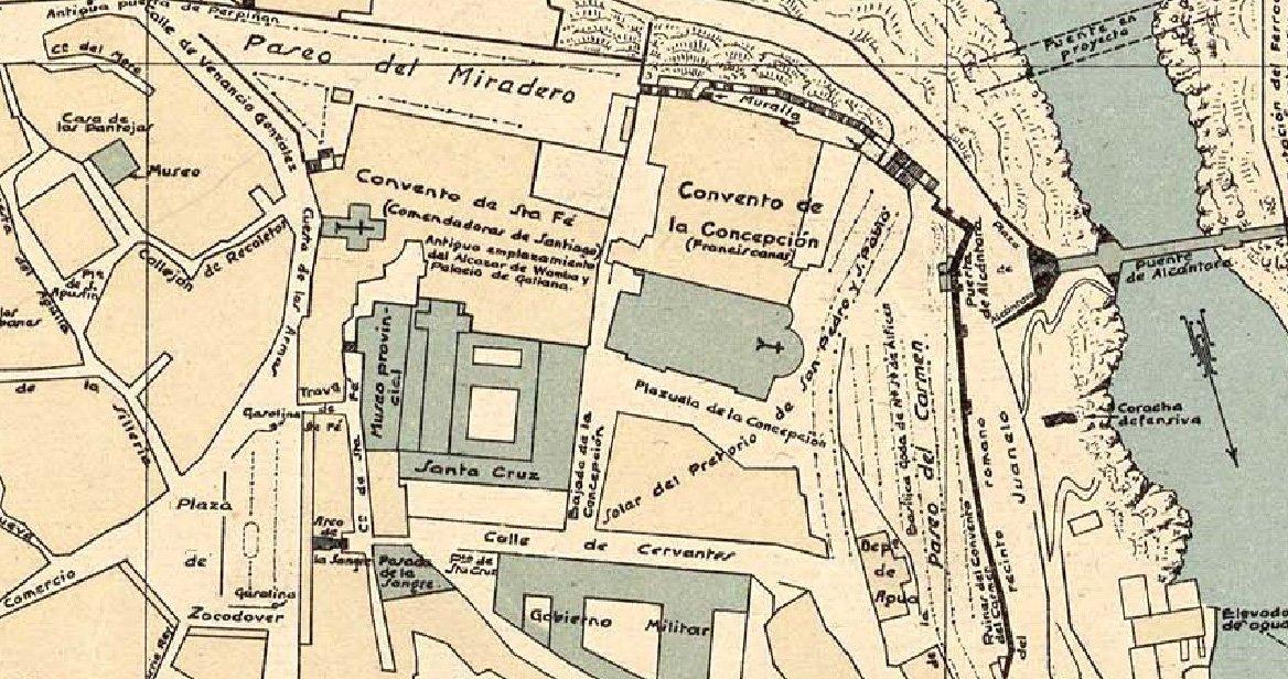 Sección del plano de Toledo de Rey Pastor, 1926. Fuente: www.ign.es