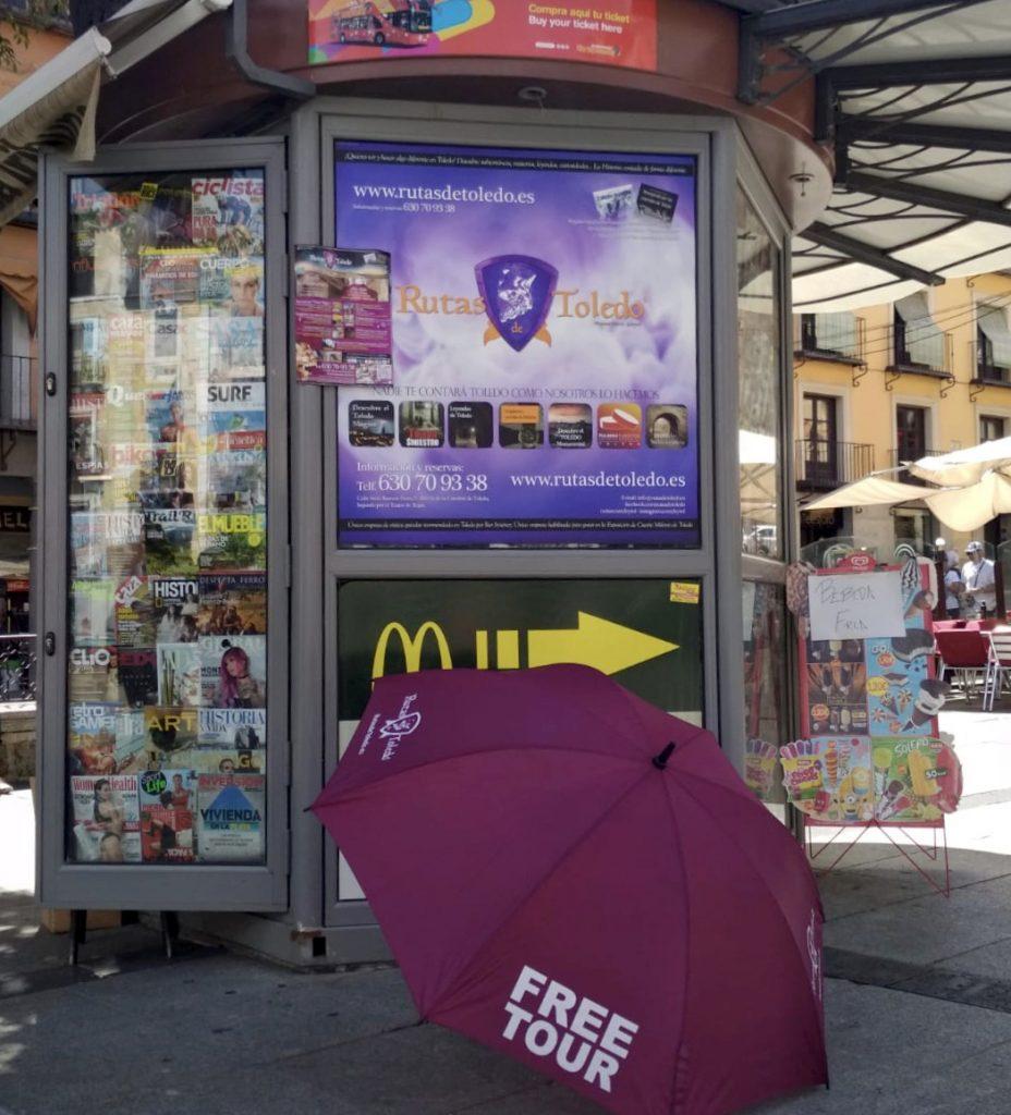 Free Tour Toledo paraguas morado Rutas de Toledo