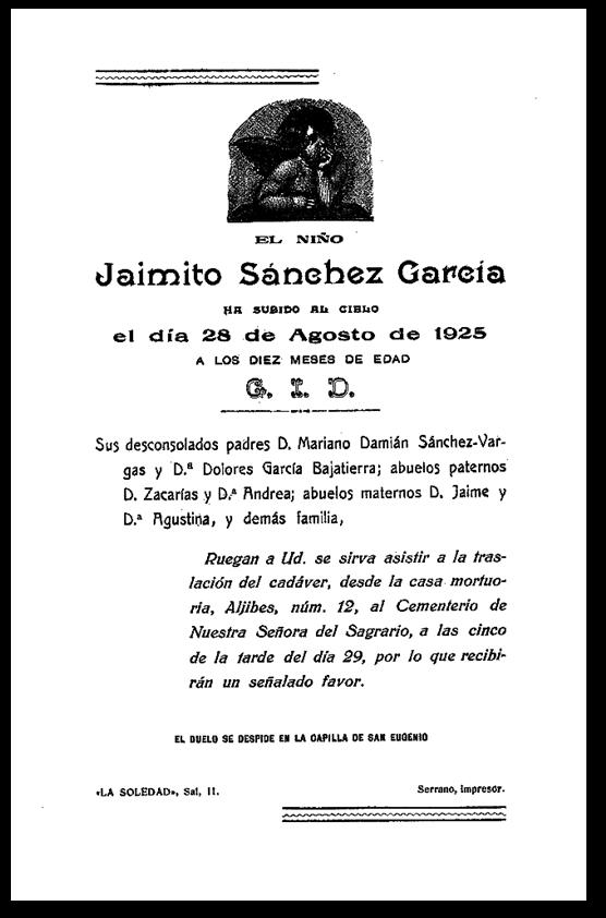 Esquela de Jaimito Sánchez García. Archivo Municipal de Toledo