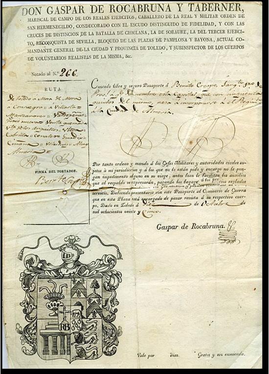 Archivo Municipal de Toledo. Exposiciones virtuales. Sellos y pasaportes. Pasaportes militares