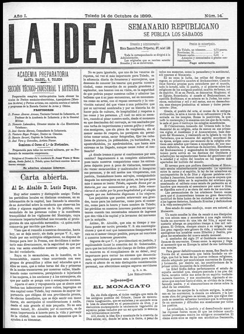 Periódico La Idea de 14 de octubre de 1899