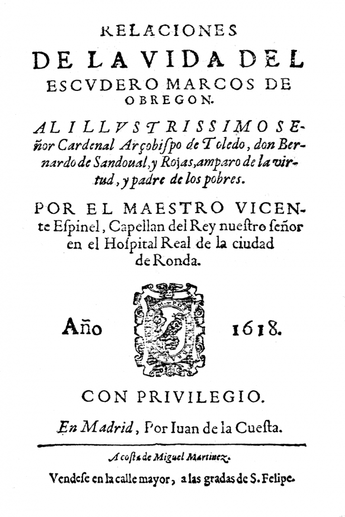 Portada de la obra Relaciones de la vida del escudero Marcos de Léon - Madrid, 1618