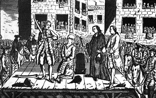 """Grabado con una ejecución procedente de la obra: """"Histoire des conspirations et des exécutions de E. de Saint-Hilaire"""". Harvard, 1849."""