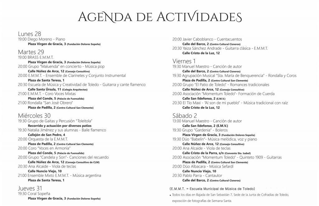 Agenda de actividades en los patios Corpus 2018 en Toledo