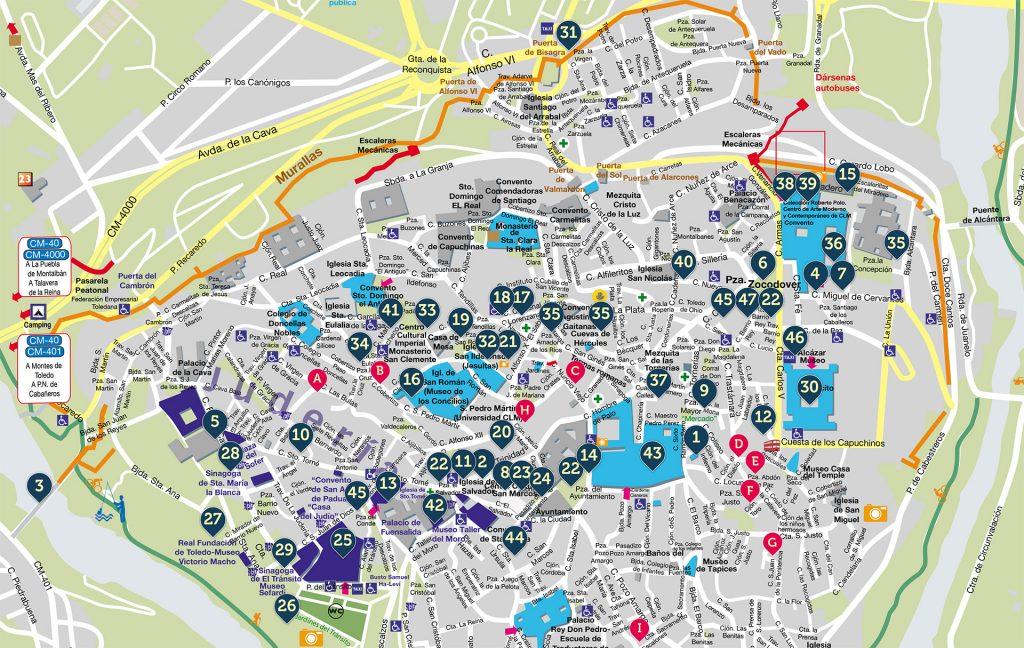 Mapa de ubicación actividades Noches Toledanas 2019