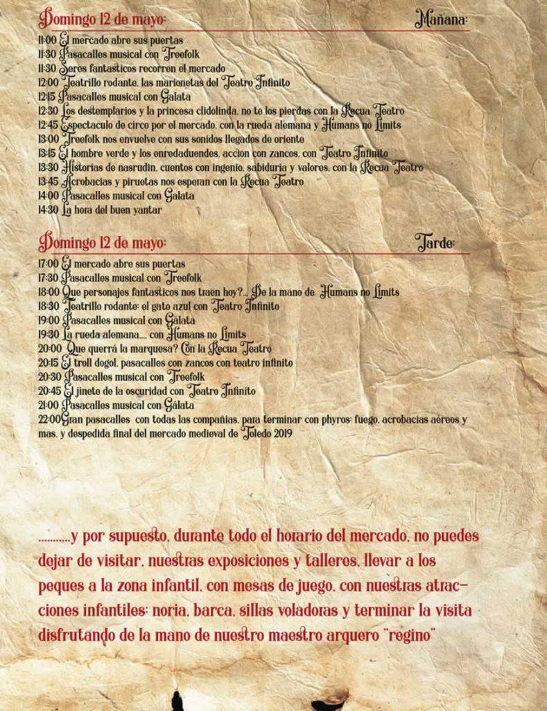 Programa del Mercado Medieval de Toledo 2019 - 2
