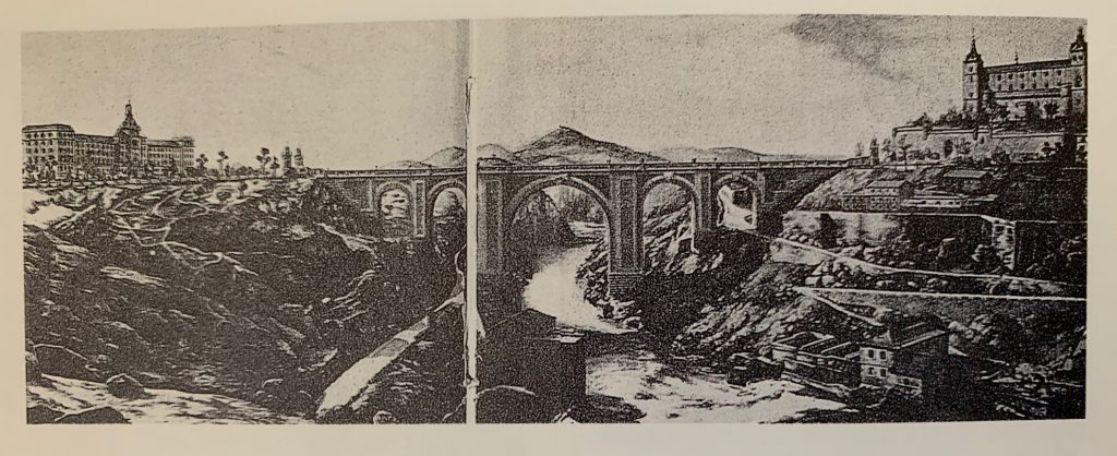 """Proyecto de puente entre el Alcázar y la Academia de Infantería reproducido por José Luis Isabel en """"La Academia de Infantería de Toledo"""" (1991)"""