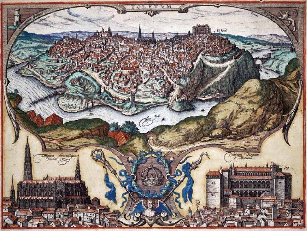 Vista de Toledo, publicada en el libro Civitates Orbis Terrarum,1598, Grabado de Georg Braun y Frans Hogenberg sobre un dibujo de Joris Hoefnagel. Fuente: Revista Archivo Secreto, núm. 7