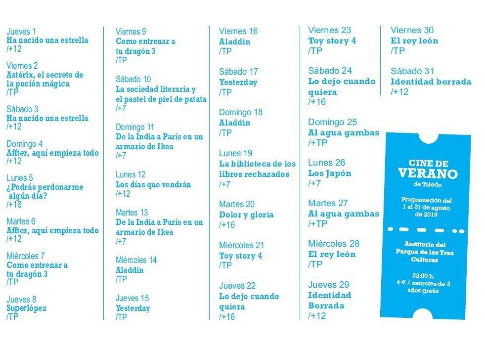 Programación Cine de Verano Toledo 2019 - Agosto