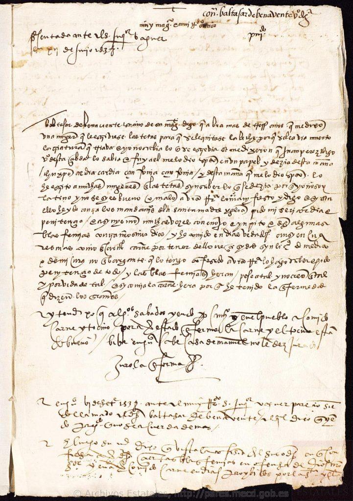 Proceso de Baltasar Benavente. Documentos de la Sección de Inquisición del Archivo Histórico Nacional