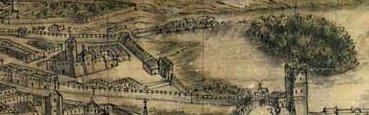Sección del plano del siglo XVIII de Arroyo Palomeque en el que se puede ver la ermita de San Isidoro (izda.), frente a ella la puerta Nueva y a la derecha la isla de Antolínez (Archivo Municipal de Toledo)