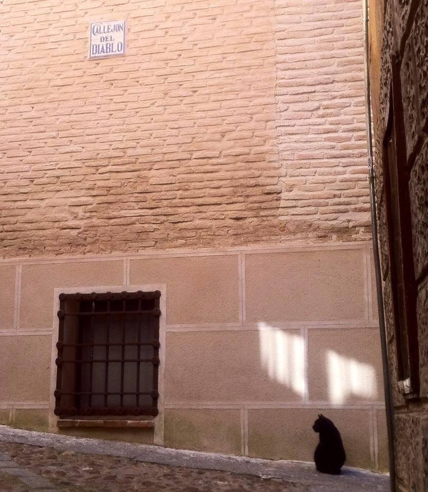 Gato negro en el Callejón del Diablo de Toledo. Foto: Mercedes Rodríguez