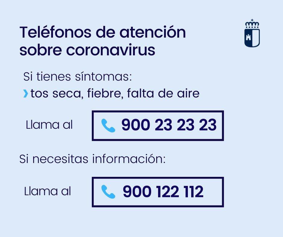 Teléfonos para información sobre el Coronavirus en Castilla-La Mancha