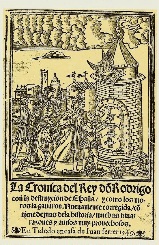 Portada de La crónica del rey don Rodrigo, que recoge las tradiciones sobre el último rey visigodo y la pérdida de España.