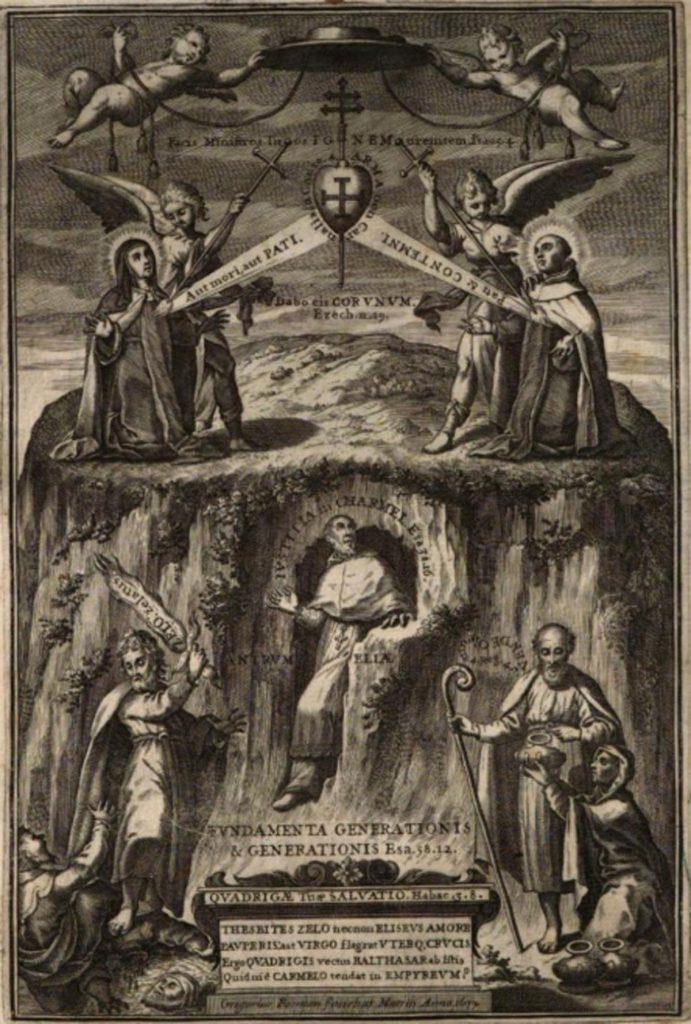 """Portada del libro """"D. Baltasar de Moscoso i Sandoval"""" de 1680 donde se narran las costumbres de este arzobispo toledano en el periodo de Semana Santa"""