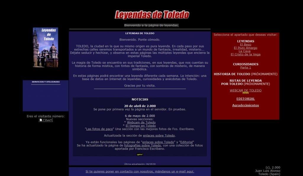 La web LeyendasdeToledo.com en HTML, en el año 2000.