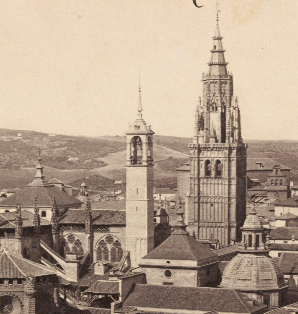 Torre del reloj de la Catedral de Toledo hacia 1860. Detalle de una fotografía de Francis Frith. Fuente: Toledo Olvidado.