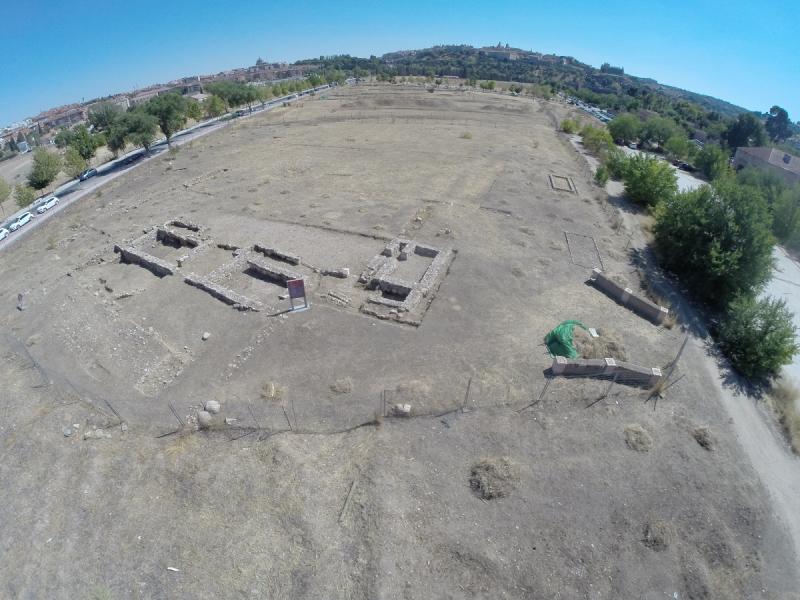 Foto aérea de parte de la Vega Baja, en Toledo. Foto: Junta de Comunidades de Castilla-La Mancha. Portal de Cultura.