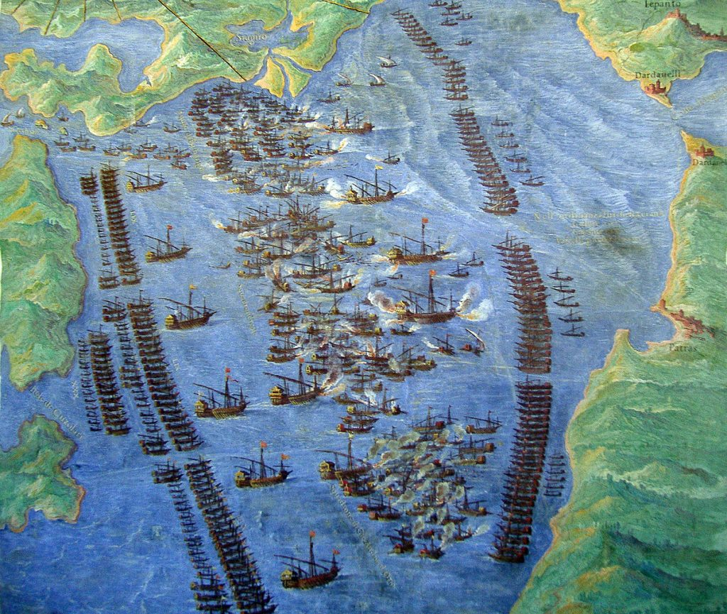 Fernando Bertelli, Die Seeschlacht von Lepanto, Venedig 1572, Museo Storico Navale. Museo Vaticano. Fuente: Wikipedia.