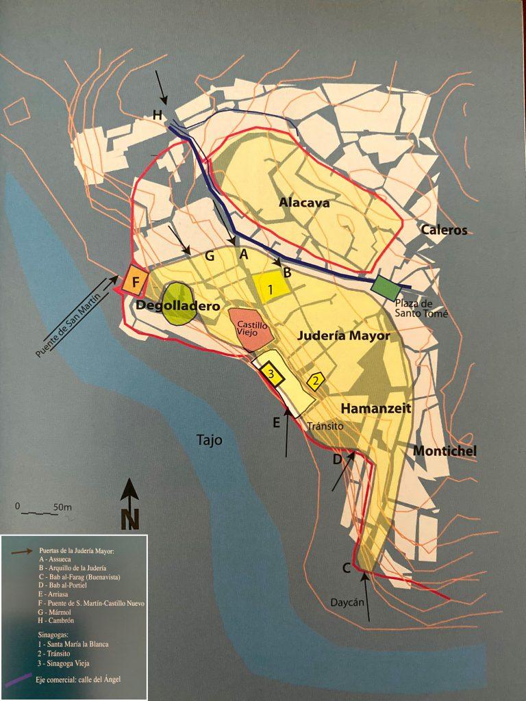 """Ubicación de la Judería Mayor en Toledo. Fuente: Passini, J. """"La Judería de Toledo"""""""