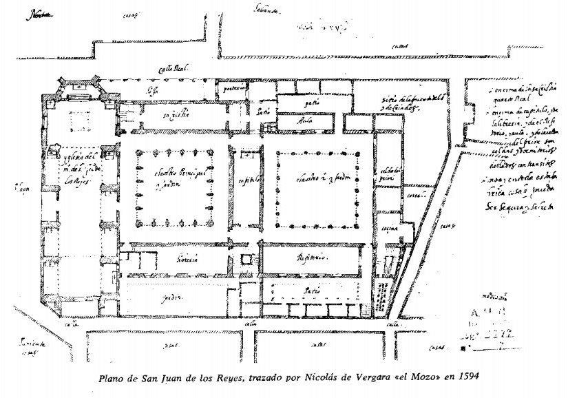 """Plano de San Juan de los Reyes trazado por Nicolás de Vergara """"el Mozo"""" en 1594, en el que se observan la Iglesia (izquierda) y los dos claustros. El que se encuentra a la derecha es el desaparecido."""