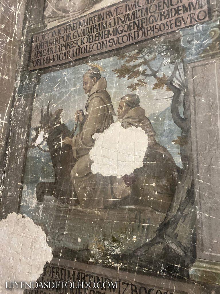 Fray Martín Ruiz, sobre el mulo transformado en Diablo cruzando el río Guadarrama, capturado con su cordón. Pintura en la iglesia conventual de las Concepcionistas en Toledo (25/08/20), oculta en el confesionario. (25/08/2020)
