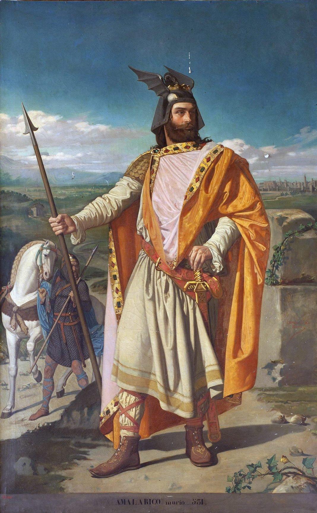 Retrato imaginario de Amalarico († 532), rey de los Visigodos e hijo del rey Alarico II y de la reina Teodegonda. Autor: Leopoldo Sánchez Díaz. Colección del Museo del Prado. (Fuente)