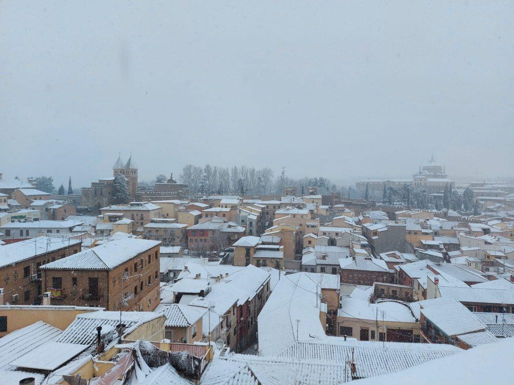 Vista desde el Miradero. Toledo nevado 07/01/21 a las 12:00 h. Foto: Amparo