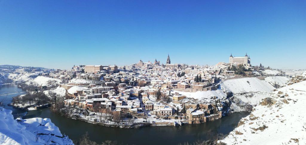 Panorámica de Toledo desde el Valle con nieve. Foto: Mª Carmen R. 11/01/21