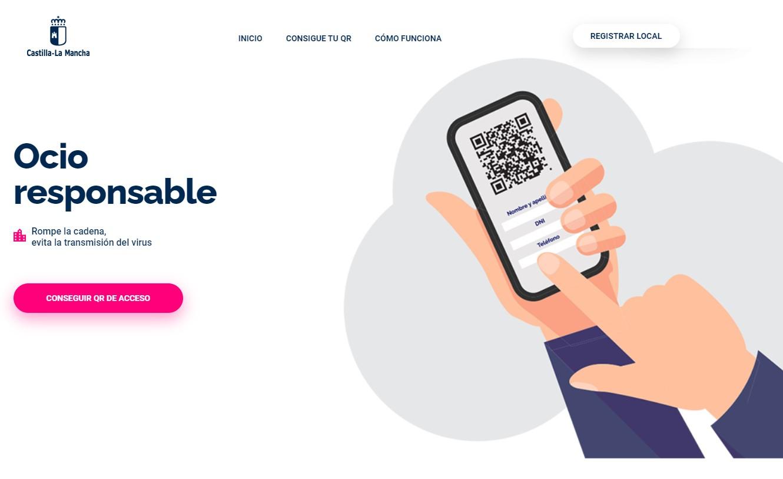 Web ocio responsable para obtener el código QR para entrar a bares de Castilla-La Mancha