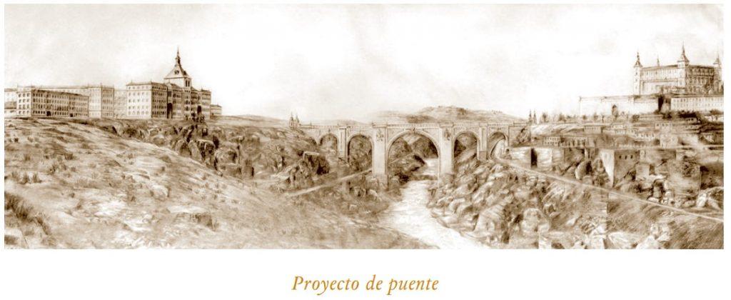 Dibujo del puente que hubiese unido el Alcázar con la nueva Academia de Infantería. Fuente: Revista Archivo Secreto