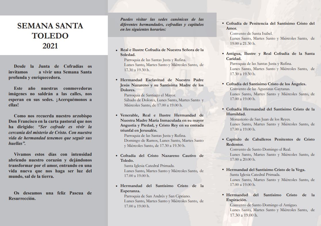 Tríptico informativo horarios Semana Santa Toledo 2021