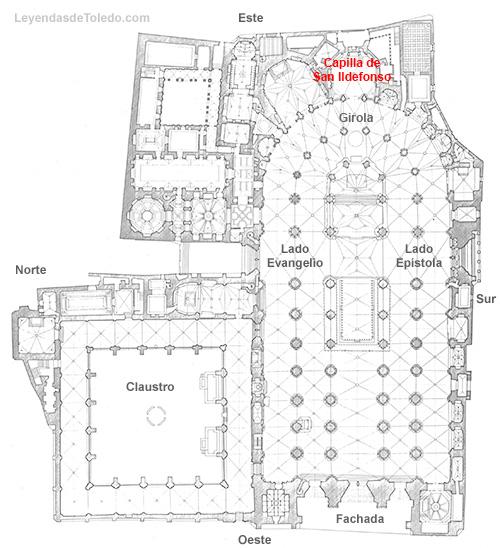 Plano: Capilla de San Ildefonso de la Catedral de Toledo.