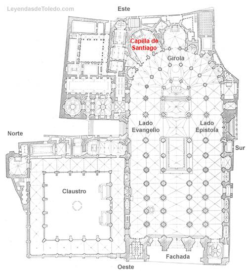 Plano: Capilla de Santiago de la Catedral de Toledo.