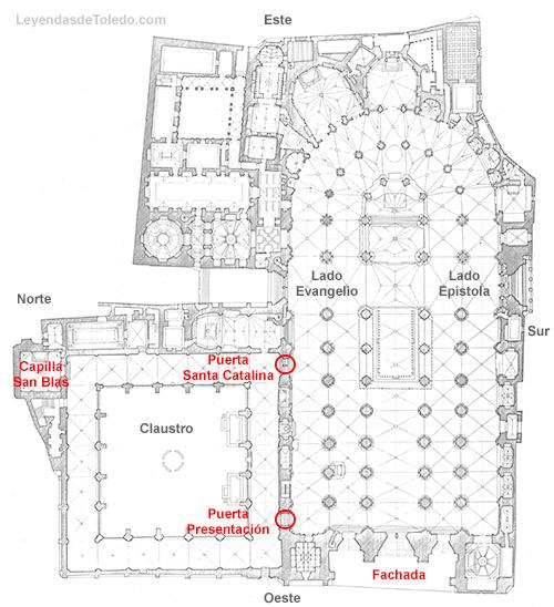 Plano: Claustro de la Catedral de Toledo.