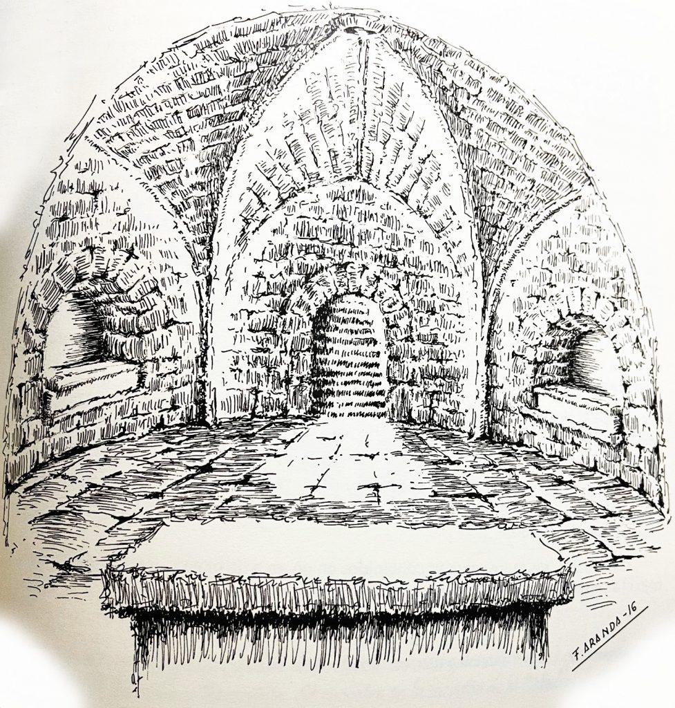 Interior de la cueva - cripta de Santa Leocadia con los enterramientos de los reyes visigodos Wamba y Recesvinto, ilustración basada en el croquis de Amador de los Ríos, creada por Fernando Aranda
