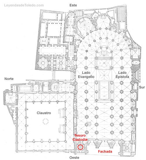 Plano: Tesoro de la Catedral de Toledo.