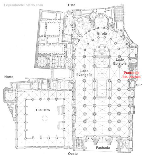 Plano: Puerta de los Leones de la Catedral de Toledo.